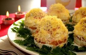 Салат новогодние мимозы