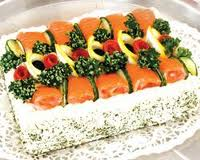 Рыбный бутербродный торт