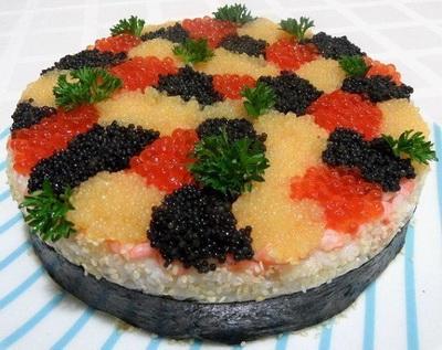 "Суши-торт ""Три икры"", рецепт"