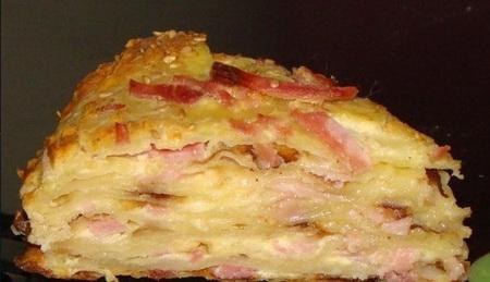 Закусочный сырный пирог с ветчиной